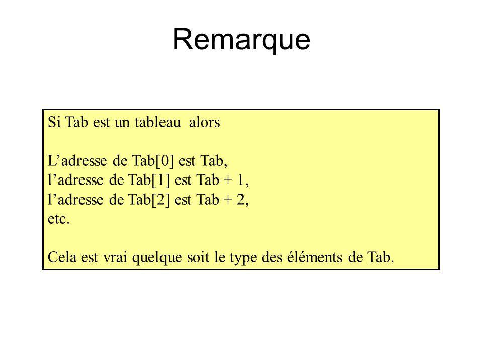 Remarque Si Tab est un tableau alors L'adresse de Tab[0] est Tab,